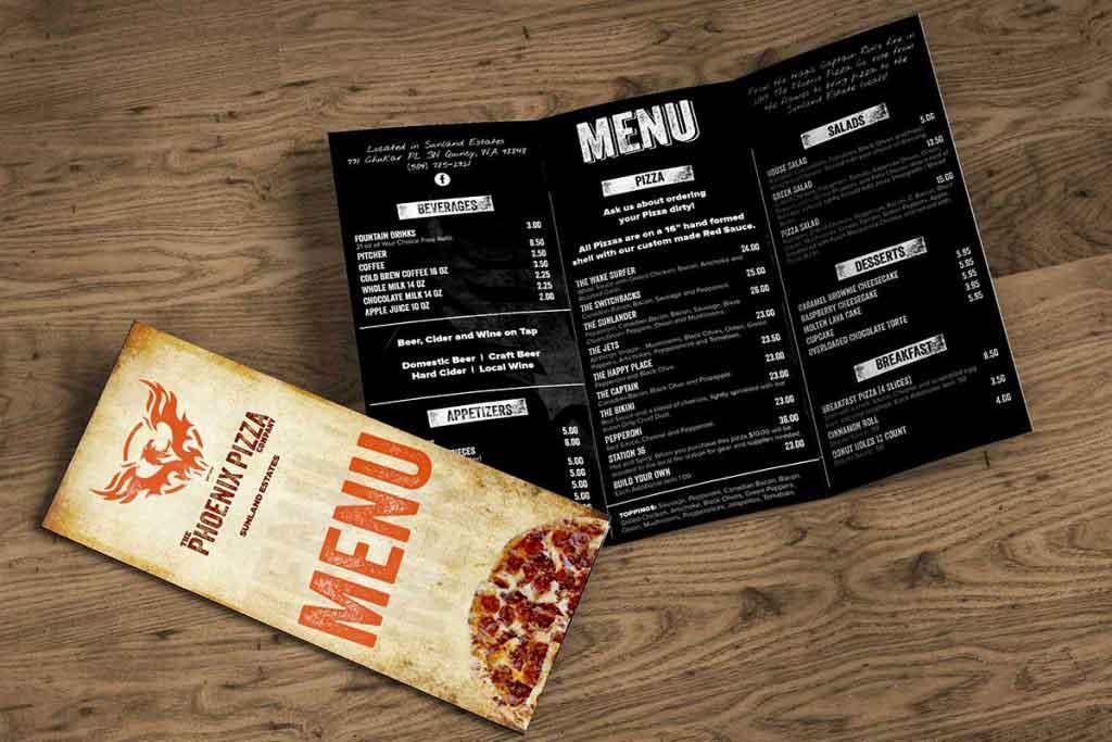 The Phoenix Pizza Company Menu Design